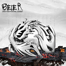 Beier new store Fashion Jewelry Stainless Steel Solid Inside Dragon Rings Men biker ring USA UK  Brazil  LLBR8-024R