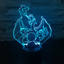 Led Toys  Charizard Squirtle Bulbasaur Articuno Action Figures  3D Table Lamp pikachu Eevee Charmander