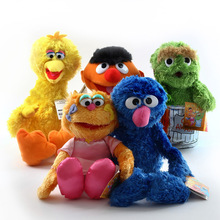 35cm 5Pcs/Set  Sesame Street Plush Toys Elmo Cookie Grover Zoe Ernie Bird Action Figure Doll Stuffed Animals Party Supplies Gift