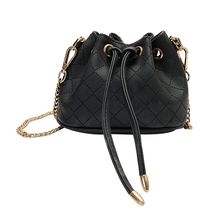 Vintage Drawstring PU Leather Barrel Bag Mini Chain Shoulder Crossbody Bag Women Messenger Bags Weave Bucket Women Bag Bolsa(China)