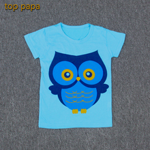 Top Papa Blue Big Discount Owl Design Short Sleeve Children Kid Top Clothes with Soft Cotton Clothing Tshirt