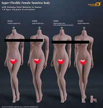 Phicen S02A S06B S09C S12D / Super-Flexible Seamless Body With Stainless Steel Skeleton In Suntan Middle Breast Size doll