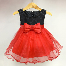 2017 Baby gifts clothing Infant Summer kids Party evening wear Print bowknot bruidsmeisjes jurk kids piano Girls dress costume
