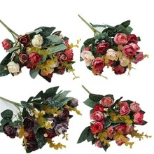 1PCS Small Silk Fake Peony Artificial Flower Leaf Home Decor Wedding Bridal Bouquet