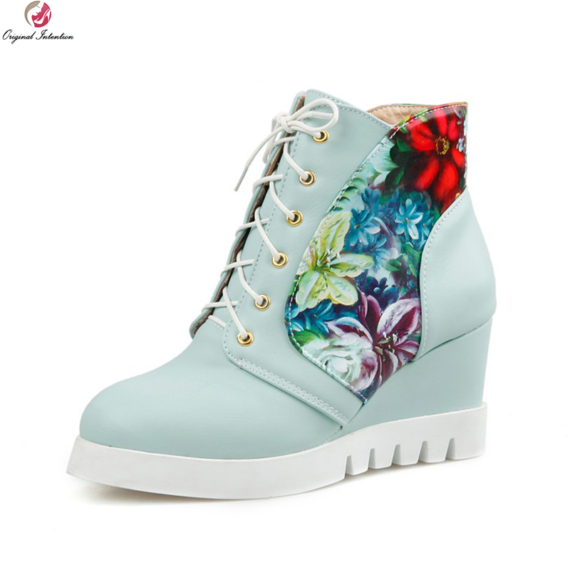 Original Intention Women Ankle Boots Elegant Round Toe Wedges Heels Boots Blue Nice Pink White Beige Shoes Woman US Size 4-12<br>