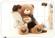 "larggest 150cm ""hello"" teddy bear plush toy sweet bear doll ,throw pillow , cushion , birthday gift b7819(China)"