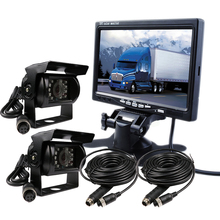 "FREE SHIPPING 12V - 24V 7"" Color LCD Car Monitor 2 Channel Video View 2 SONY 600TVL CCD IR Rear View Camera for Bus Van Truck"