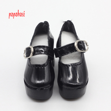 Papabasi 1pair Black PU Leather 1/4 Doll Shoes for 50cm BJD SD Dolls Accessory 6.3cm