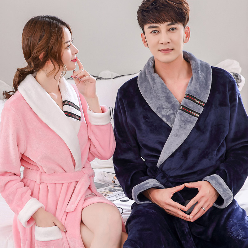 Autumn winter thick flannel robe men coral fleece bathrobe male plus size sleepwear long-sleeve couples long nightgown