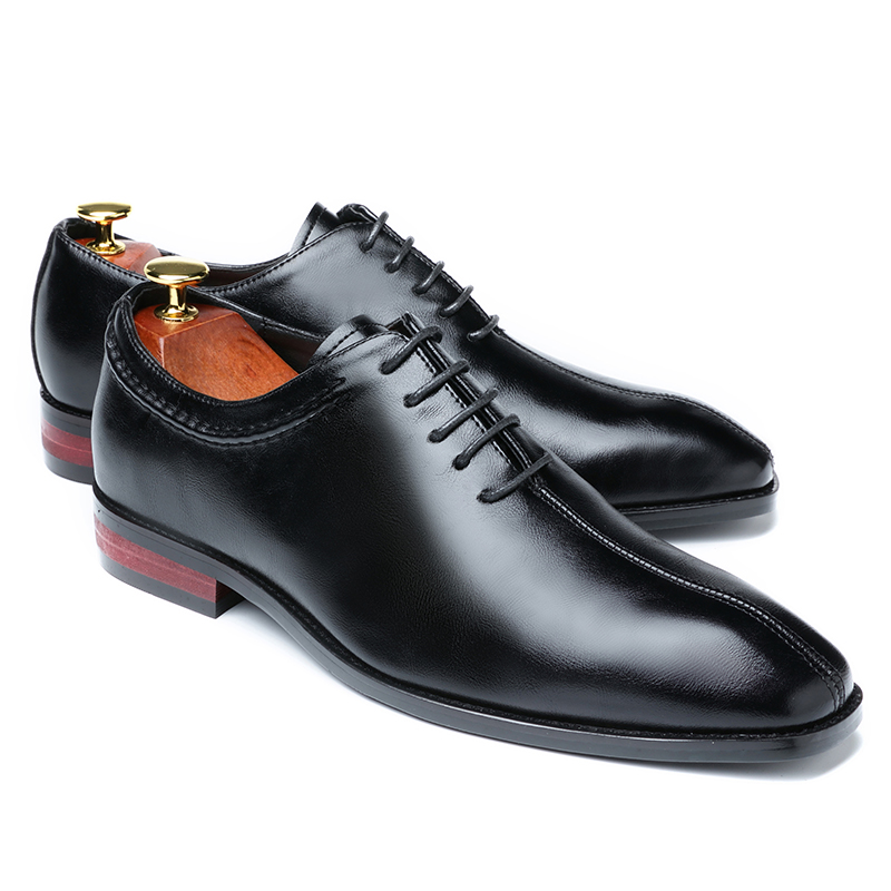 2019 Newest Men Dress Shoes Designer Business Office Lace-Up Loafers Casual Driving Shoes Men's Flat Party Leather Shoes 3 Color (24)