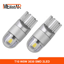 2PCS t10 car led w5w bulb white 6000K 3030 2smd W5w 194 t10 168 led high power wedge bulb auto lamp dome parking light(China)