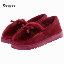 Buy 2017 New Bowtie Plush slipper Warm Soft Sole Women Indoor Floor Slippers/Shoes Animal Shape indoor Flannel Home Slippers xs1 for $11.99 in AliExpress store