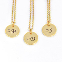 Simple Round Pendant Necklace Jewelry Custom Engraved Name Necklace  Stainless Steel Chain Personalized Carved Nameplate Choker 201e1c4363bd