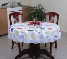 PVC Pastoral round table cloth waterproof  non wash plastic pad plus velvet anti hot coffee tablecloth