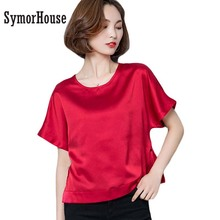 Buy SymorHouse Blouse Shirt Women Tops Short Sleeve Summer Fashion Lady Chiffon Silk Shirt Fitness Shirts Plus Size Female Clothes for $11.99 in AliExpress store