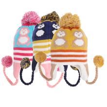Lovely Baby Winter Ear Protection Knitted Cap Cute Cartoon Penguin Pattern Earflap Hat Thicken Crochet Knitted Warm Cap