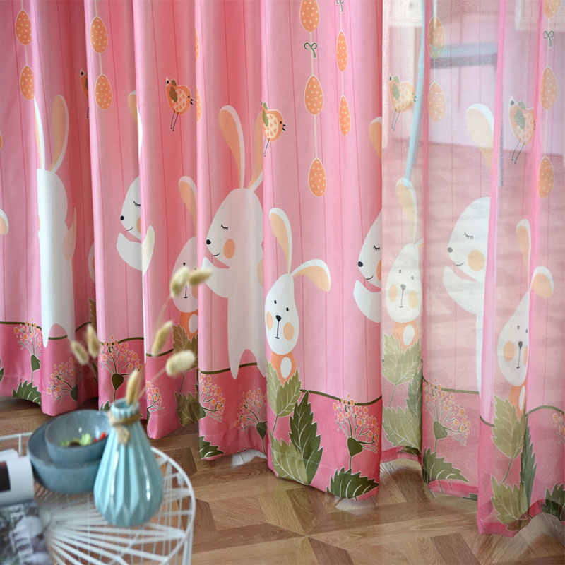 Pink Cartoon Curtain Living Room Children Boys Girls Bedroom Horse cute rabbit Printing Blind Curtain kids Tulle Curtains
