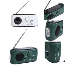 Protable Outdoor Dynamo Radio AM/FM Radio Receiver Emergency Hand Crank Dynamo Solar Powered with Flashlight