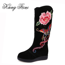 KANG FEINI Genuine Leather Women Boots Winter Warm Cow Leather Snow Boots Fashion Embroider Platform Shoes Woman Knee-high Boots(China)