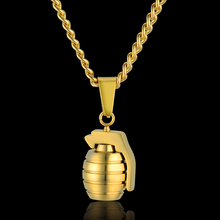 Hip Hop Men's Antitank Grenade Pendant Necklace For Men Jewelry Soldier Friend Gift Military Gold Color Bomb Pendants Necklaces(China)