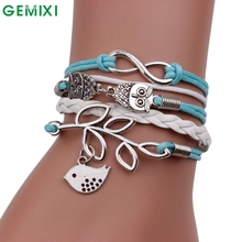 Bling-World Handmade Infinity Silver 8 Owl Leaf Bird Leather Bracelet Wristbands Delicate