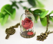 1PC Beauty and the Beast Necklace Rose in Terrarium Pendant His Beauty/Her Beast Valentines Day Fairy Tale Movie Victorian
