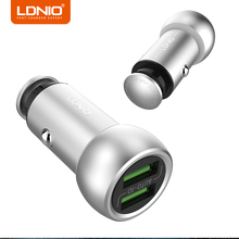 LDNIO Dual Ports Silver USB Car Charger Mobile Phone Car Charger Adapter 5V 3.6A for Xiaomi Redmi Note 4X Fast Charging Charger(China)