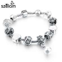 Fashion European Style Silver Bracelets & Bangles With Simulated Pearl Charm Bracelets For Women Pulseira SBR160043