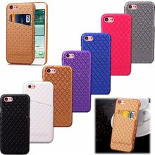 Leather Case for Iphone 7 4.7 Inch Hard Cover Luxury Smart Card Money Rhombus Grid Royal Bump Golden Business Men Lady New Noble(China)