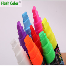 Flashcolor 10mm Highlighter Neon Liquid Chalk Marker Pens for LED Writing Board Neon Effect Writing Pens 1 pcs/Lot 8 Color