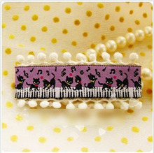 Princess sweet lolita hair accessories dancing on the piano little black cat pompon ball lace hair clips purple hairpin single