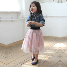spring and summer girls tutu age 3-8 tulle skirts children fluffy skirt, kids tutu skirt, black/white/blue/pink(China)