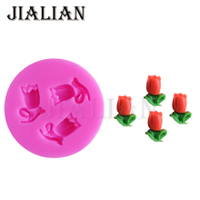 3-Hole DIY Silicone Molds Roses Flowers Shape Mould For Cake Candy Chocolate leaves cake pop recipe cupcake mold T0820