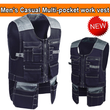 Bauskydd Mens Tool pockets vest Craftsman carpener mechanic Work Vest workwear outdoor vest tool vest free shipping(China)