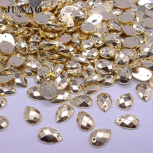 JUNAO 8*12mm Gold Color Flatback Rhinestones Sew On Acrylic Beads Drop Strass Crystal and Stones For Clothes Handicrafts 500pcs