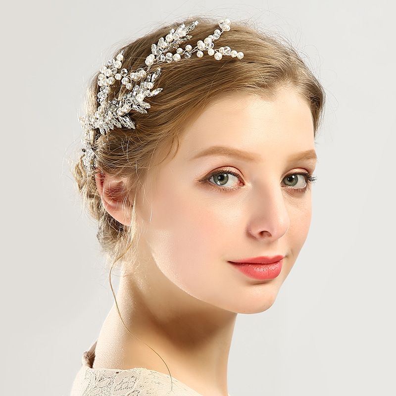 Luxury Top Quality Crystals Wedding Hair Vine Headband Pearl Leaf Style Bridal Headpieces Princess Handmand Tiaras Hair Jewelry