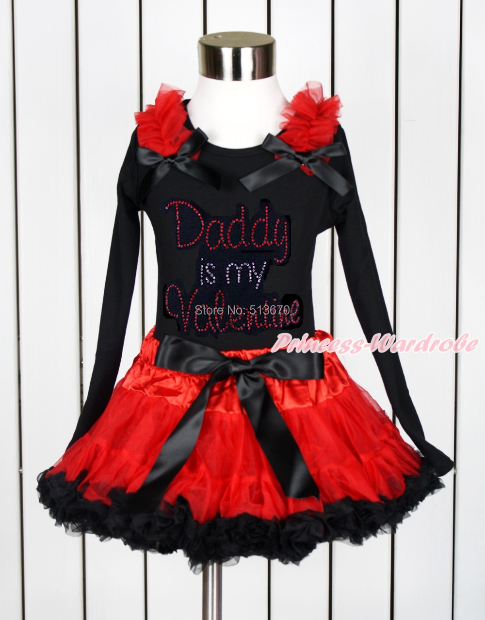 Girl Rhinestone Daddy Is Valentine Black Top Red Black Pettiskirt Set 1-8Year MAPSA0111<br>