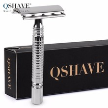Qshave Short Handle Classic Safety Razor Double Edge Mens Shaving Razor Gift Box Pack Cure Handle, 1 Razor & 5 blades(China)