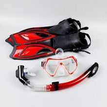 Scuba Diving Equipment Sets Underwater Diving Mask Full Face Dry Snorkeling Gel Myopia Diving glasses with Flippers