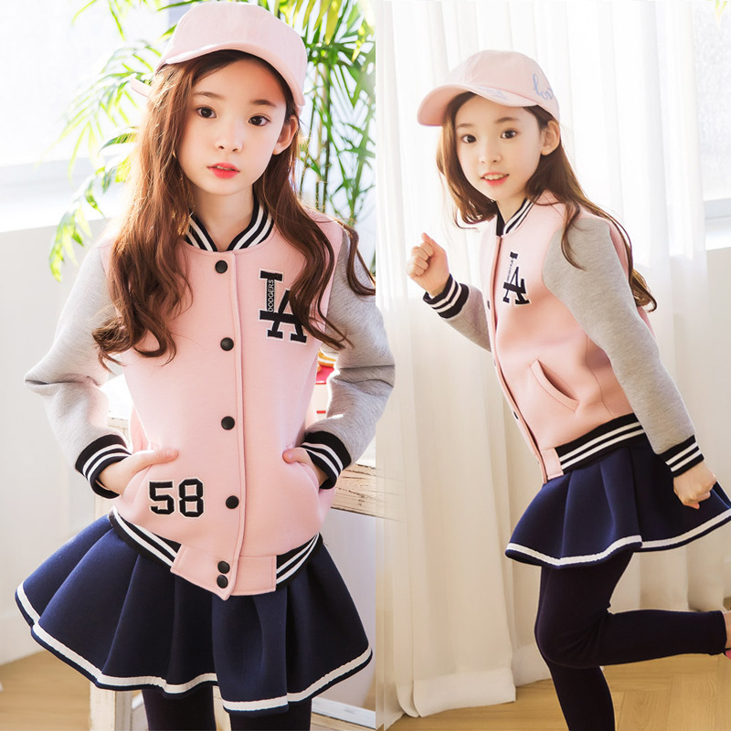 Spring Autumn Girls Sport Suit Tracksuit For Girls Clothing Sets Kids Outfits Costume Baseball Uuniform 2Pcs Set H63<br>