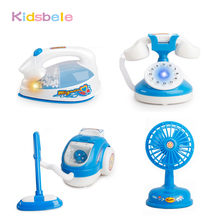Kids Pretend Play Toy Simulation Blue Miniature Furniture Set Learning Toy Electronic Vacuum Cleaner Baby Toy(China)