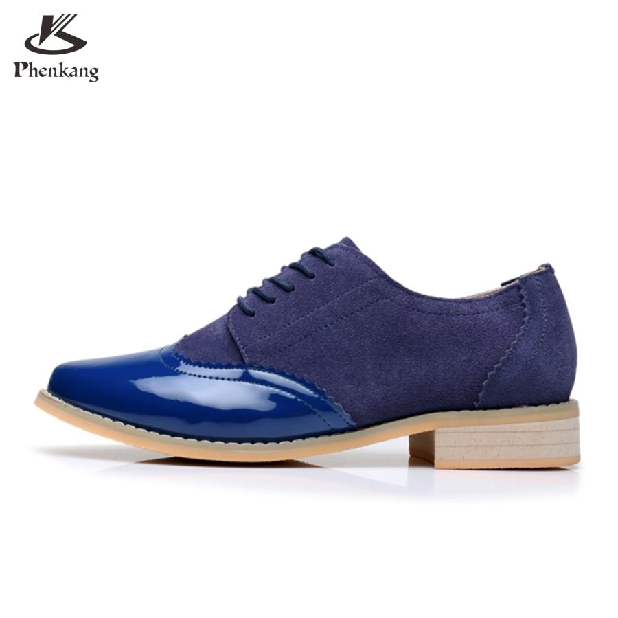 Genuine leather big woman shoes US size 9.5 designer vintage High heels blue handmade pumps 2017 oxford shoes for women<br>