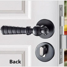 modern simple fashion Mechanical mute split interior door locks black bedroom kitchen bookroom solid wooden door handle locks