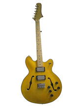 Brand new semi hollow body jazz electric guitar with double F hole cutway in golden color(China)