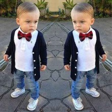 RT-168 New children clothing set beautiful kids costume 3 pcs one set preppy style bow tie shirt + jacket + jeans boys clothes(China)