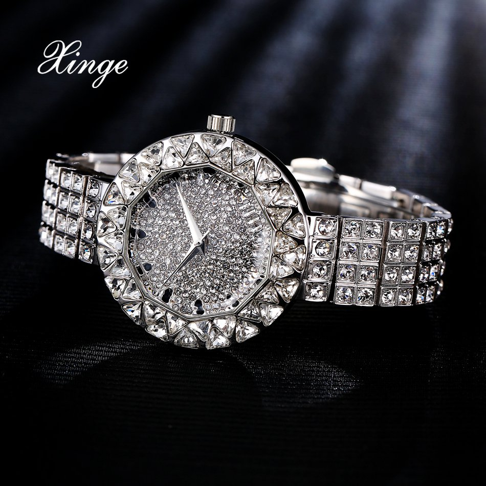 Xinge Brand Women Steel 30m Waterproof Clock Quartz watch 3A Zircon Crystal Bracelet Watches Women Dress Luxury Wrist Watch<br>