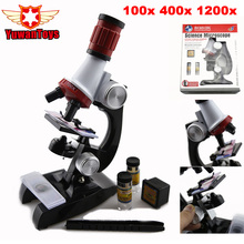 2017 Science Microscope Kit for Children 100x 400x 1200x Refined Scientific Instruments Toy Set for Early Education for Birthday(China)