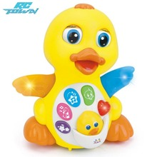 RCtown Multipurpose Educational Baby Infants Light Sound Music Electric Cartoon Duck Toys(China)