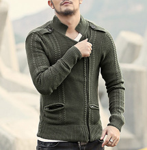 mens Cardigans Sweaters Men spring Sweater Tops stand Collar Men slim Casual Double zipper Knitwear Brand Motorcycle jacket