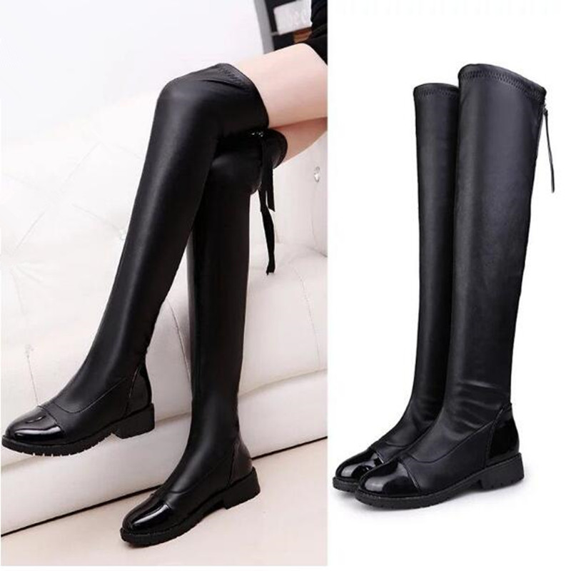 Autumn Fashion Women Motorcycle boots Elasticity Soft Leather Sexy Over-the-Knee Winter Snow boots Female shoe 03<br><br>Aliexpress